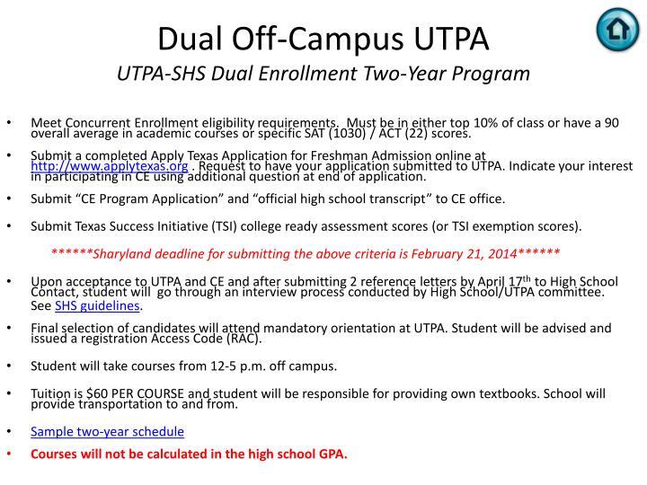 Dual Off-Campus UTPA
