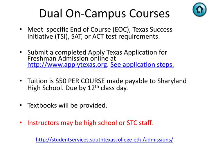 Dual On-Campus Courses