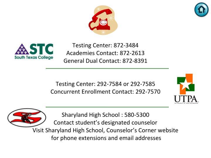 Testing Center: 872-3484