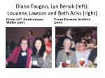 diana faugno lyn benak left louanne lawson and beth ariss right