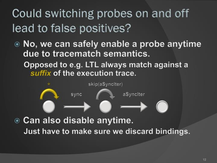 Could switching probes on and off lead to false positives?