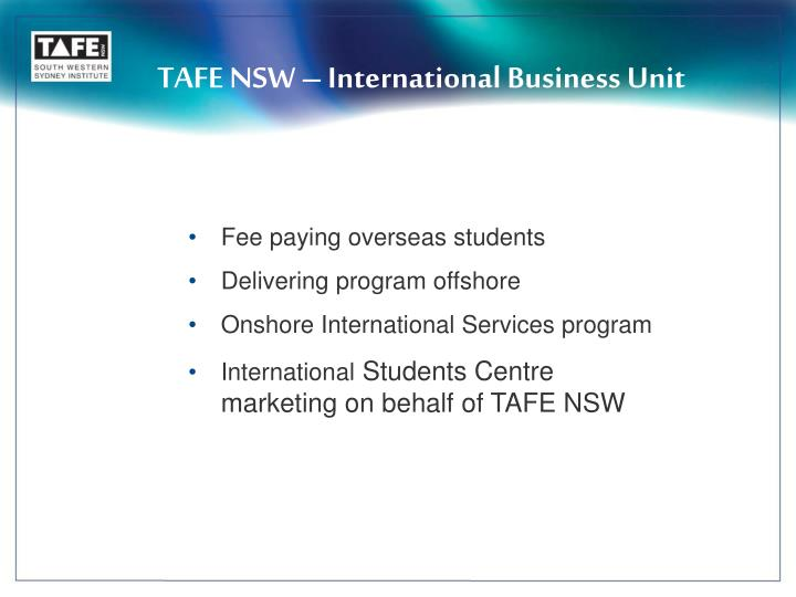 TAFE NSW – International Business Unit