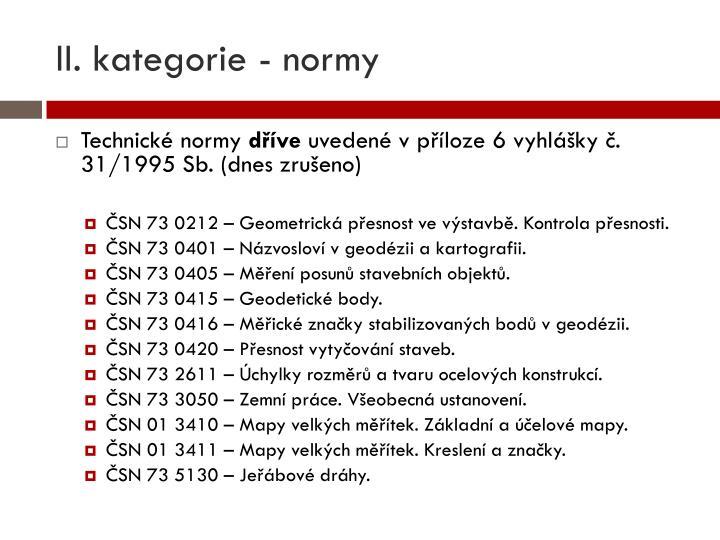 II. kategorie - normy