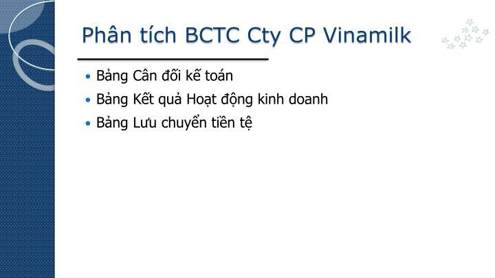 Phân tích BCTC Cty CP Vinamilk