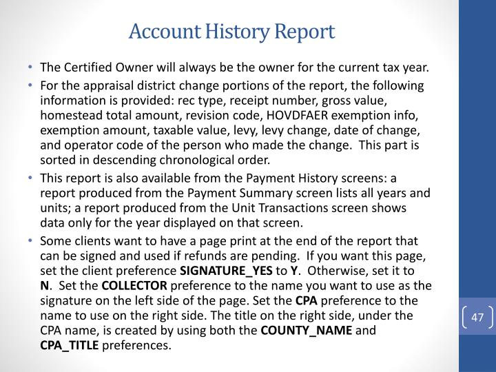 Account History Report