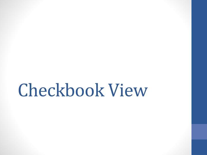 Checkbook View