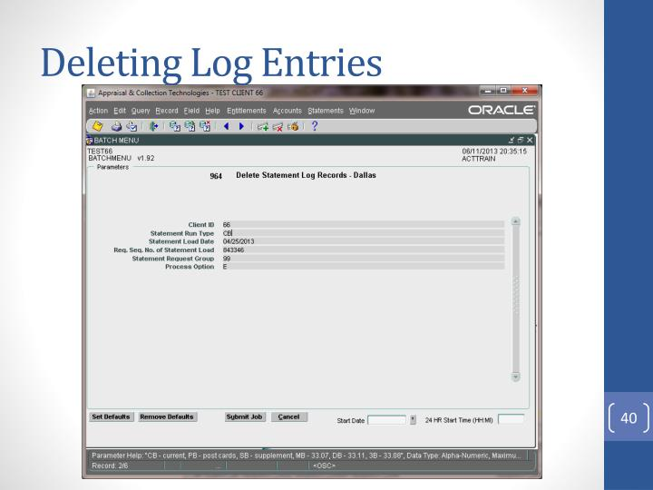 Deleting Log Entries