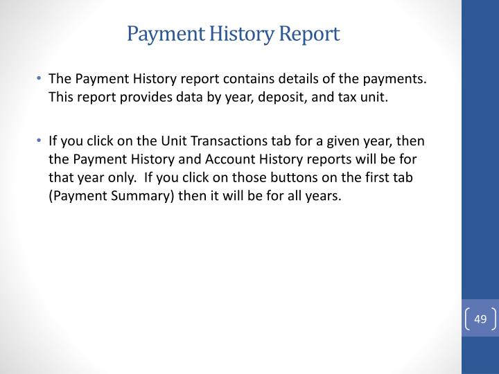 Payment History Report