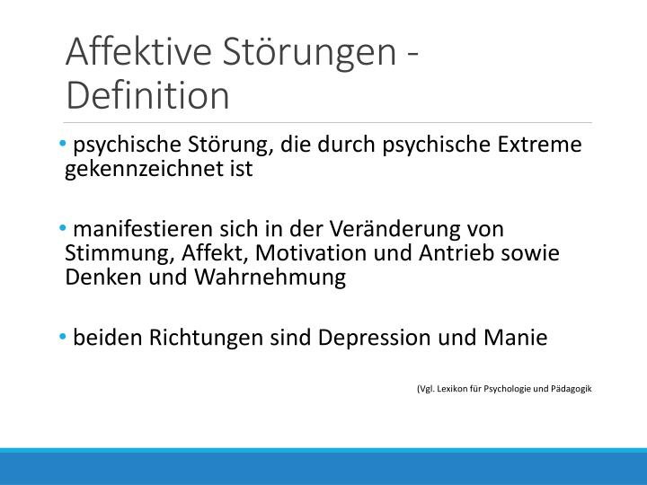 Affektive Störungen - Definition