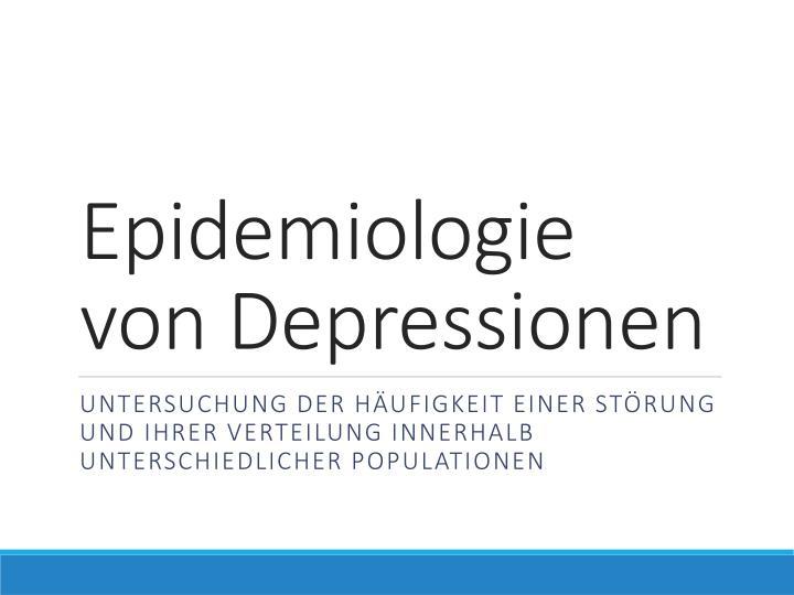 Epidemiologie von Depressionen