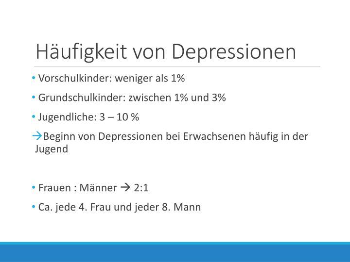 Häufigkeit von Depressionen