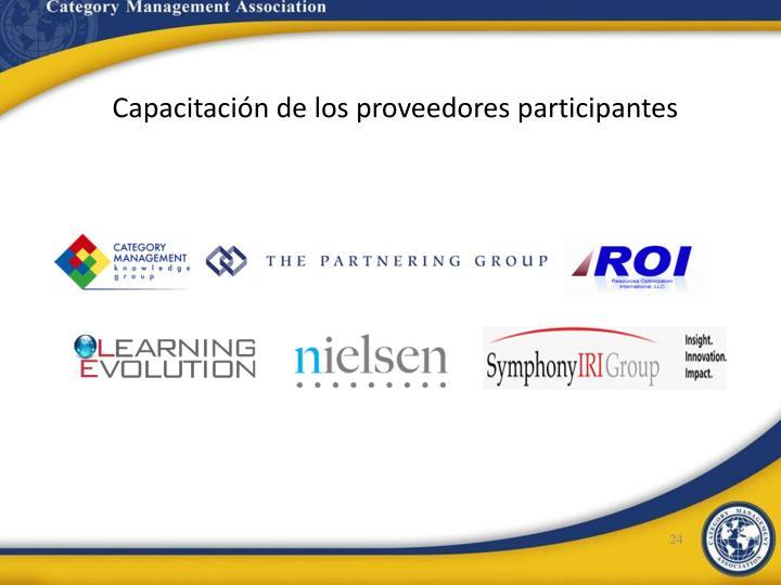 Capacitación de los proveedores participantes