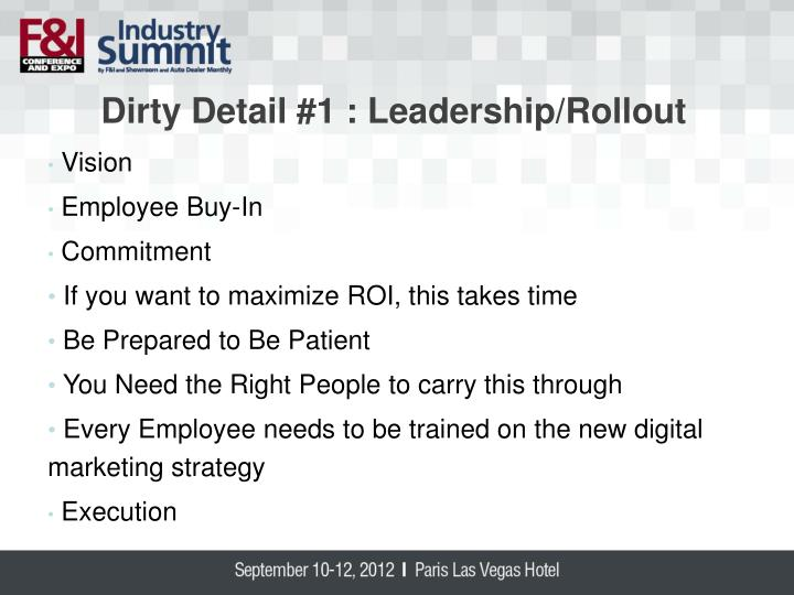 Dirty Detail #1 : Leadership