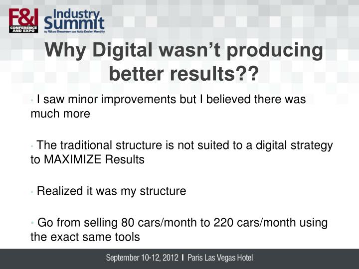 Why Digital wasn't producing better results??
