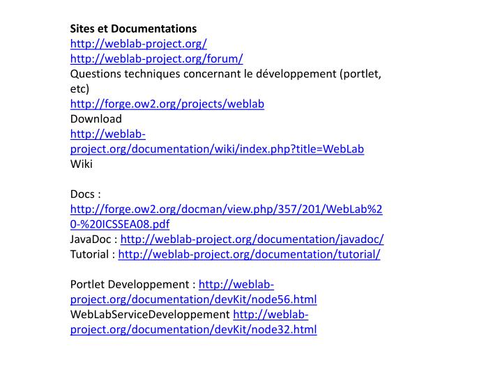 Sites et Documentations