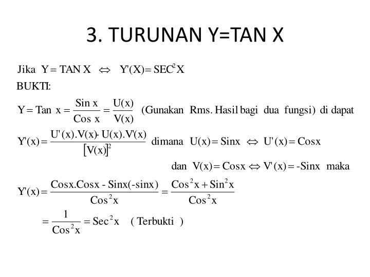 3. TURUNAN Y=TAN X