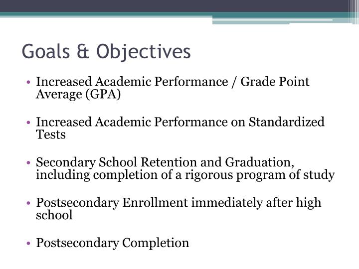 Goals objectives