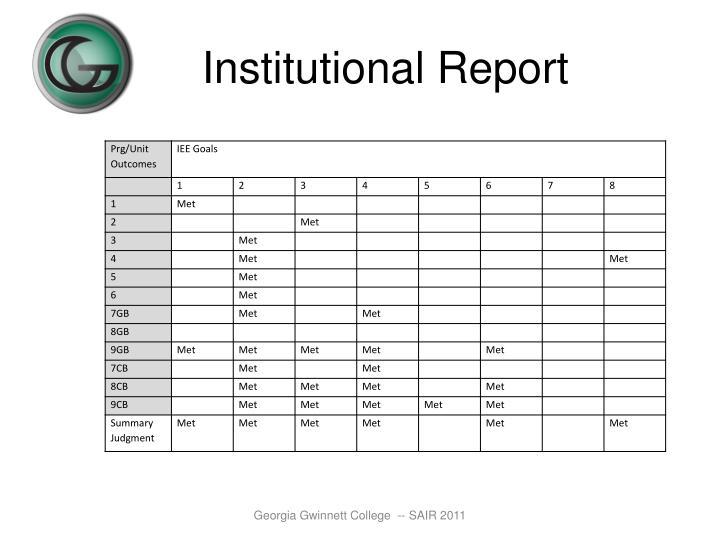 Institutional Report