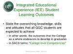 integrated educational experience iee student learning outcomes