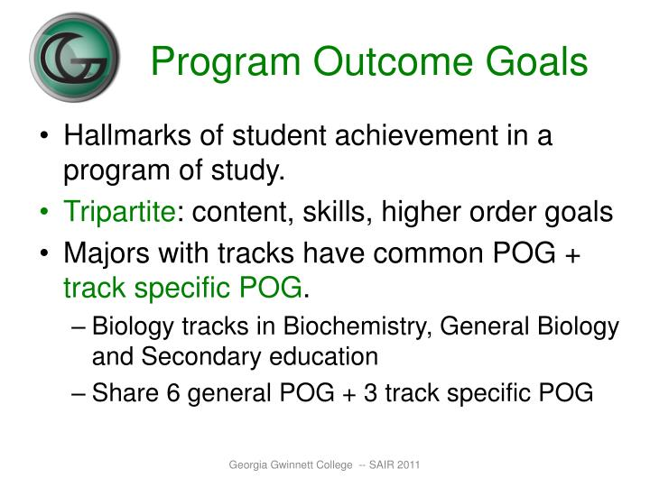 Program Outcome Goals