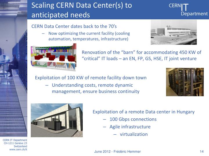Scaling CERN Data Center(s) to anticipated needs