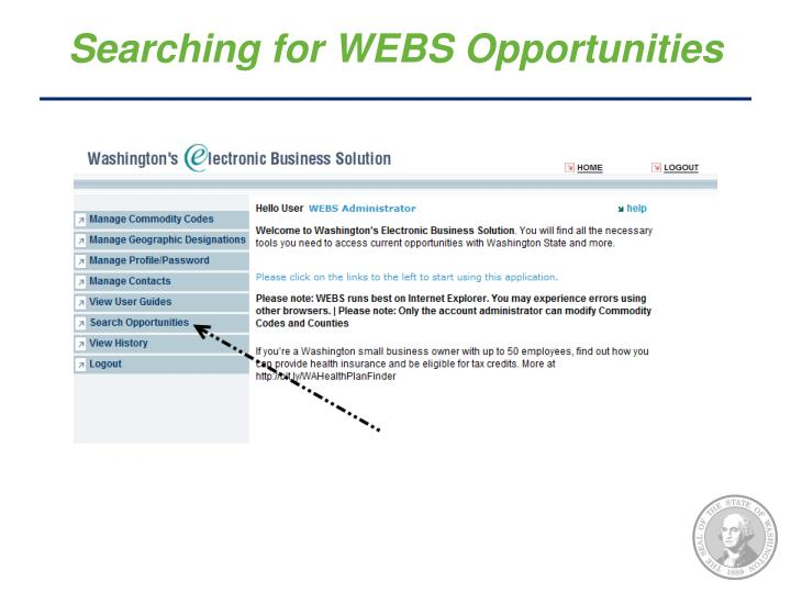 Searching for WEBS Opportunities