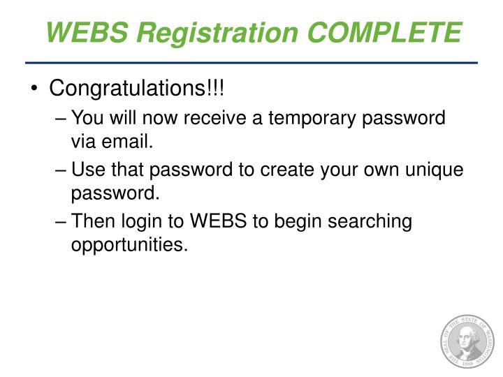 WEBS Registration COMPLETE