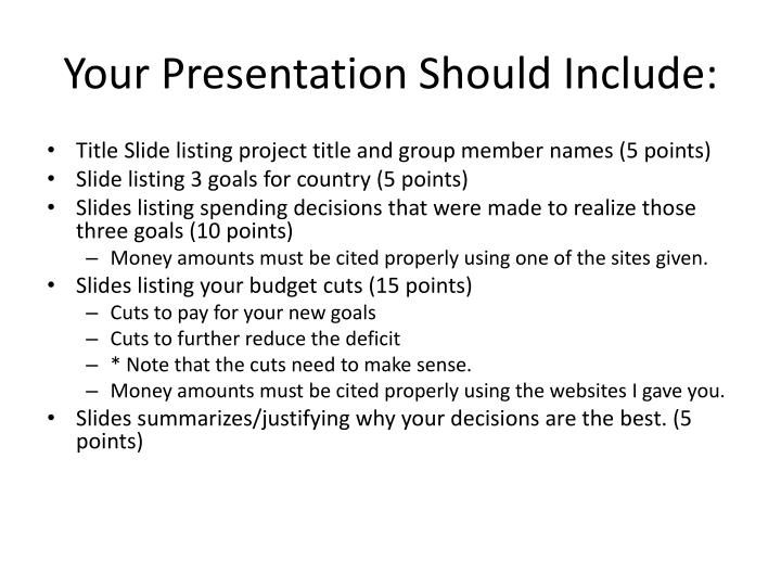 Your Presentation Should Include: