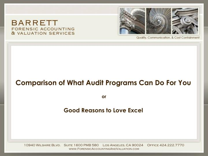 Comparison of What Audit Programs Can Do For You