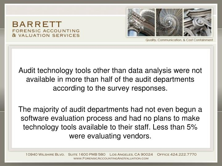Audit technology tools other than data analysis were not available in more than half of the audit departments according to the survey responses.