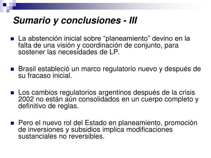 Sumario y conclusiones -