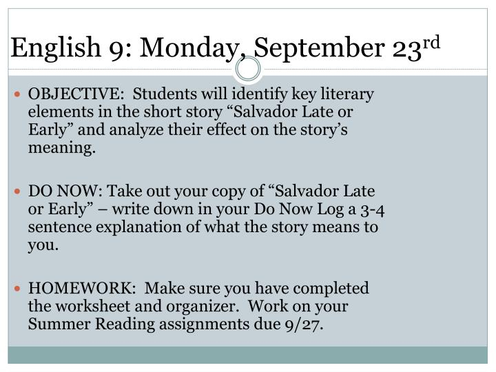 English 9: Monday, September 23