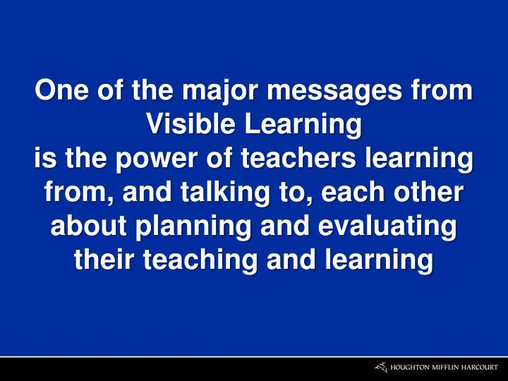 One of the major messages from Visible Learning