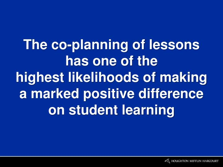 The co-planning of lessons
