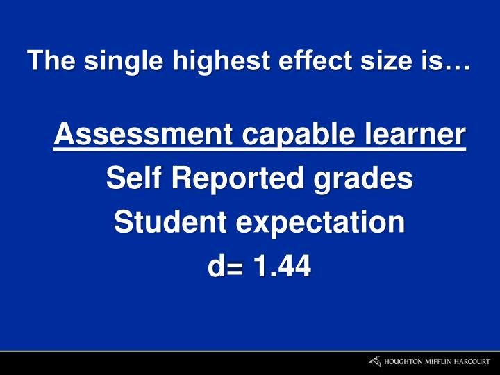 The single highest effect size is…