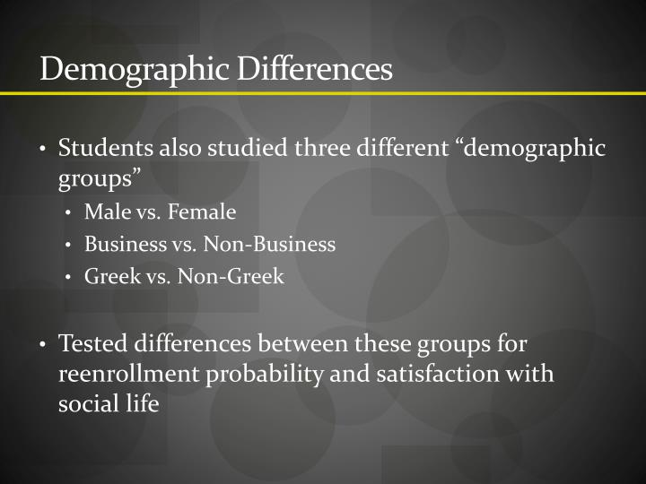 Demographic Differences