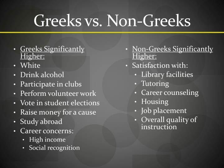 Greeks vs. Non-Greeks