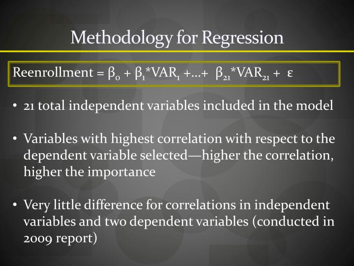 Methodology for Regression