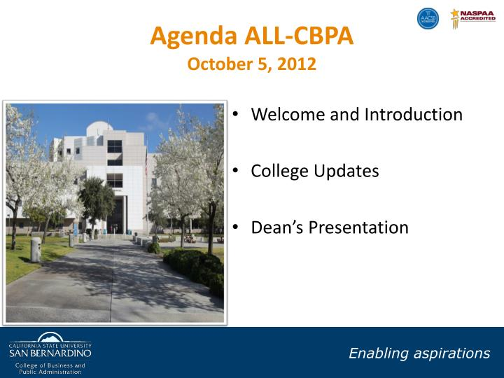 Agenda ALL-CBPA