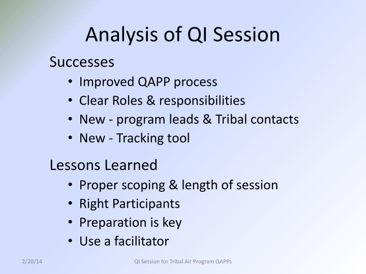 Analysis of QI Session