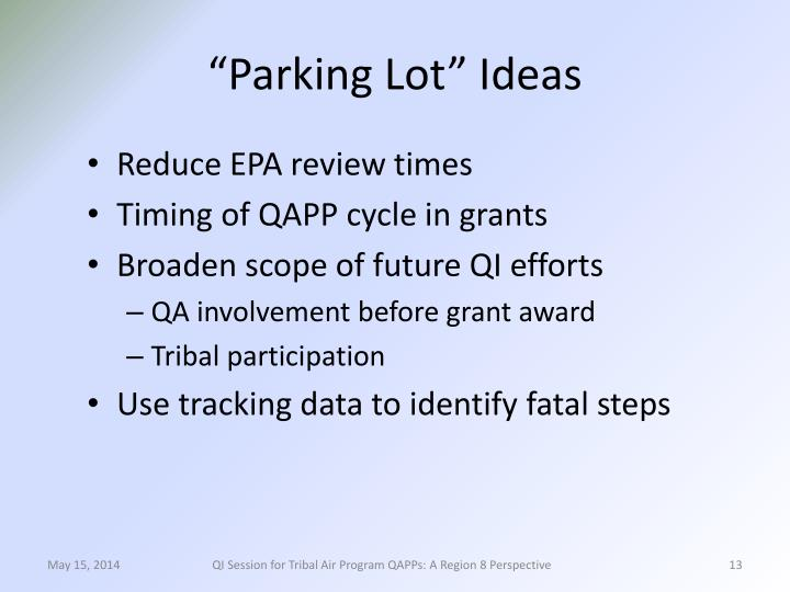 """Parking Lot"" Ideas"
