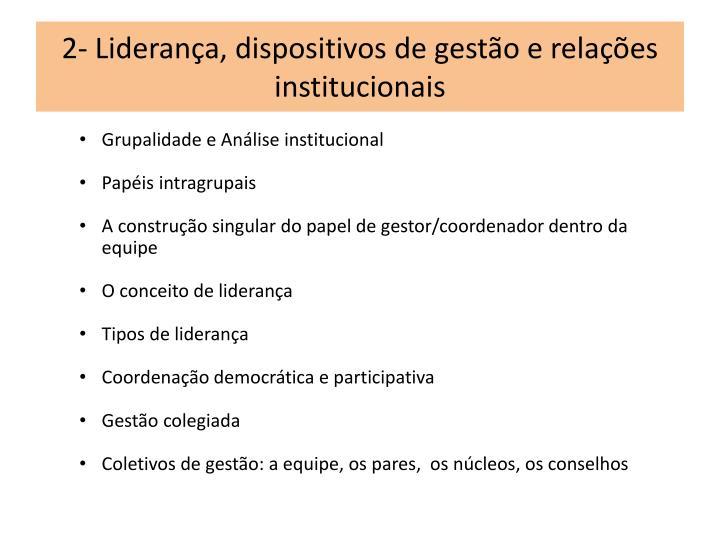 2- Liderança, dispositivos de gestão e relações institucionais
