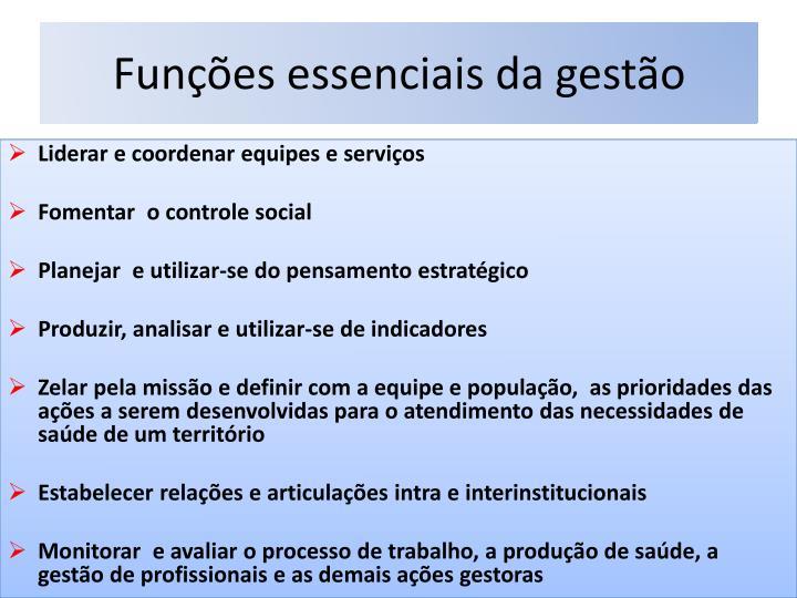 Funções essenciais da gestão