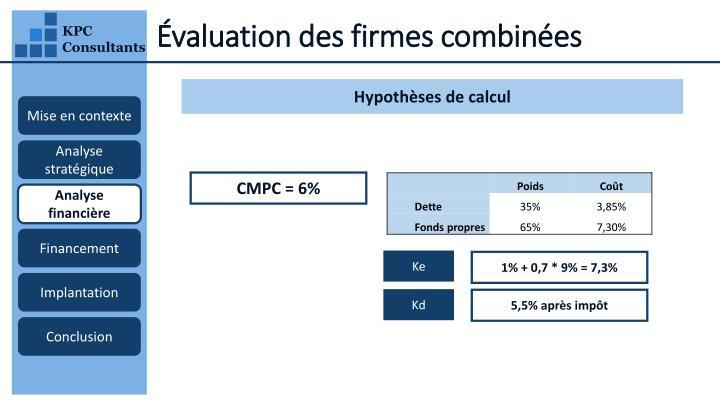 Évaluation des firmes combinées