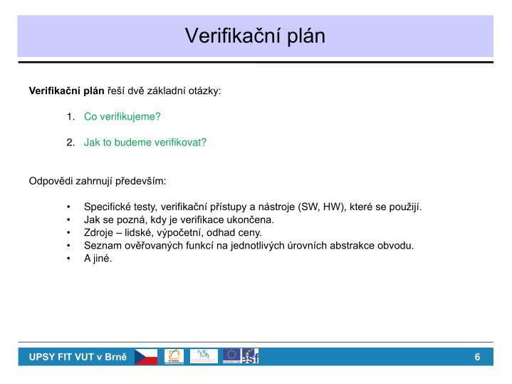 Verifikační plán