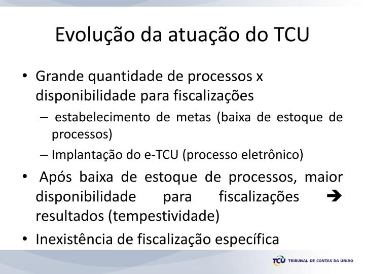 Evolu o da atua o do tcu
