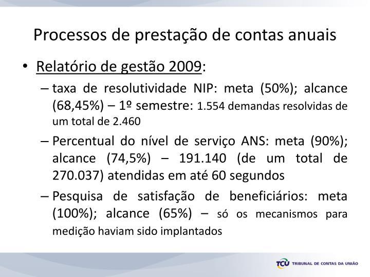 Processos de prestação de contas anuais