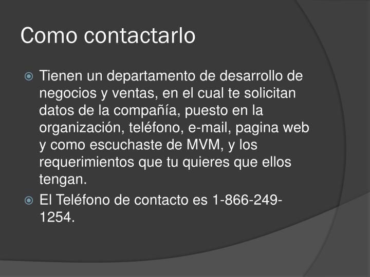 Como contactarlo