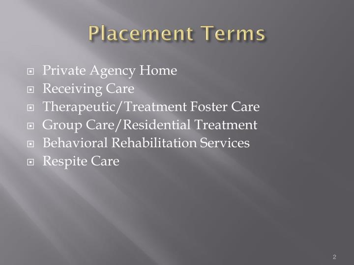 Placement Terms