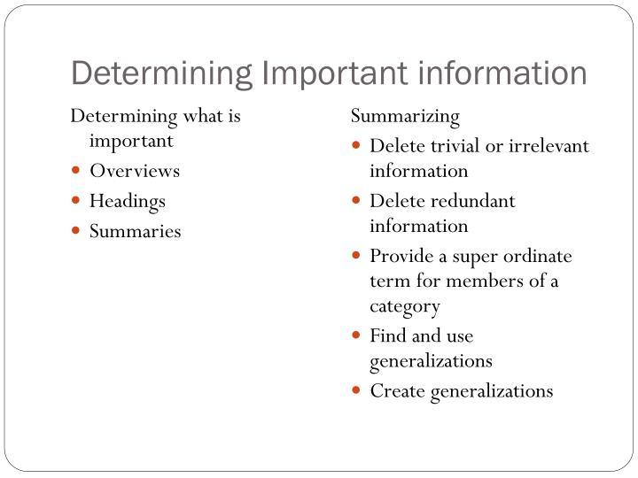 Determining Important information